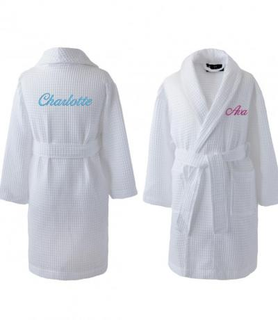 Personalised White Children's Waffle Bathrobe