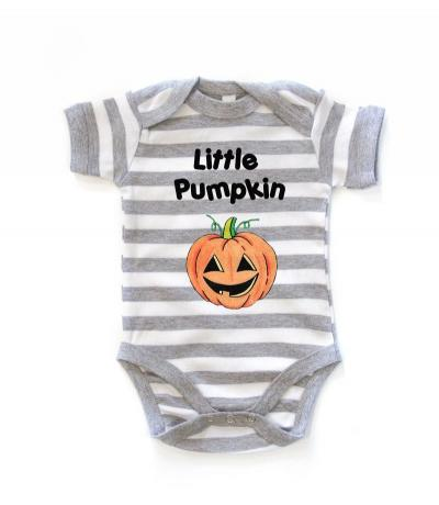 Grey Striped Little Pumpkin Babygrow