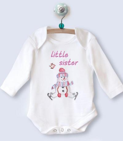 Little Sister Long Sleeve Babygrow Top