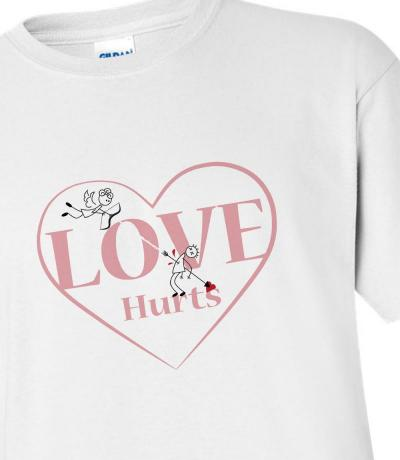 'Love Hurts' funny T-shirt with Heart