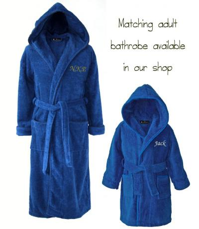 Personalised Kid's Cotton Bathrobe Dark Blue