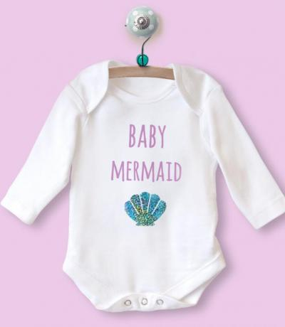 Little Sister Long Sleeve Babygrow Top with Mermaid Design