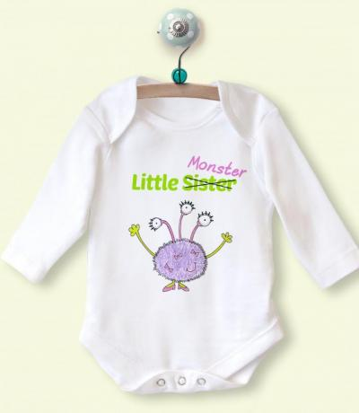 Little Sister Long Sleeve Babygrow with Monster Design
