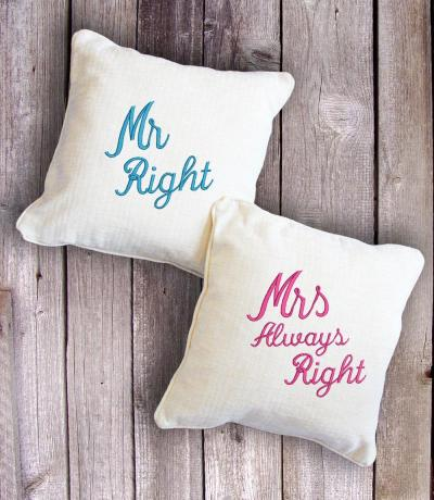 Mr Right & Mrs Always Right Wedding Cushion