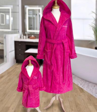 Personalised Mother and Daughter Hooded Bathrobes - Pink. From. £69.95.  father and son bathrobes. blue hooded bathrobe 541cedb0a