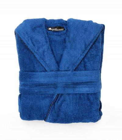 ladies dark blue towelling bathrobe dressing gown
