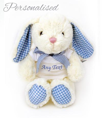 personalised cream blue bunny rabbit with t-shirt