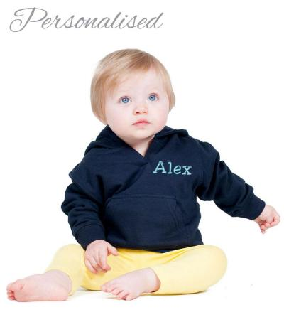 Personalised Embroidered Baby Hoodie - Navy