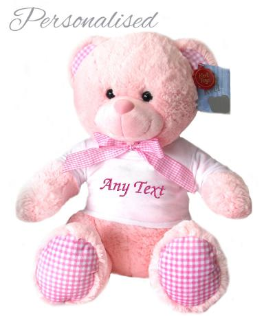Personalised Pink Teddy Bear with T-shirt