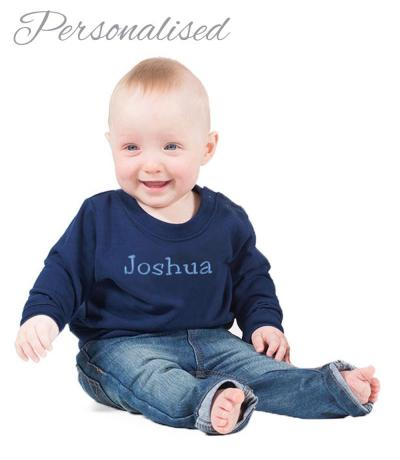 Personalised Embroidered Baby Sweatshirt - Navy