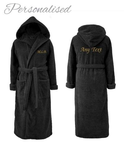 men's hooded towelling bathrobe