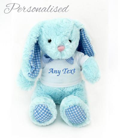 personalised blue bunny rabbit toy with t-shirt