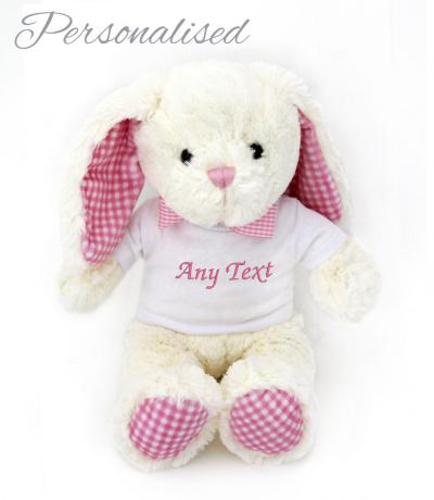 personalised cream pink bunny rabbit toy with t-shirt