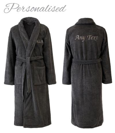 d0781fe997 Personalised SHAWL Dressing Gown - Charcoal for Him