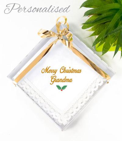 personalised christmas handkerchief