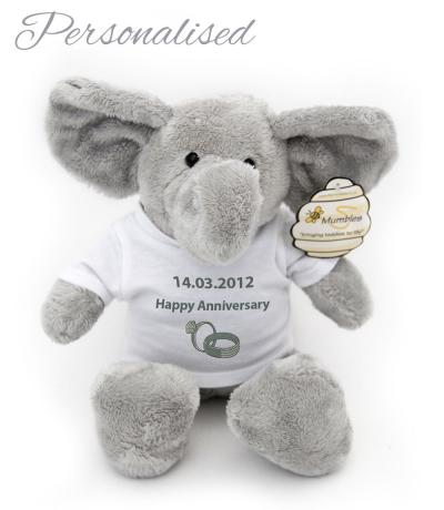 Personalised Teddy Bear with T-shirt, Elephant