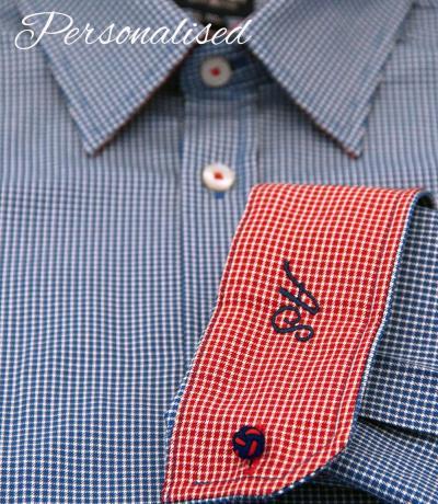 Personalised monogrammed check dark blue shirt