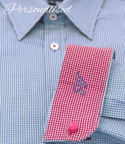 Personalised Monogrammed check light blue shirt