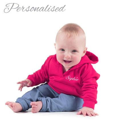 Personalised Embroidered Baby Hoodie - Hot Pink