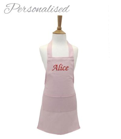 Personalised Kid's Cotton Apron - Light Pink