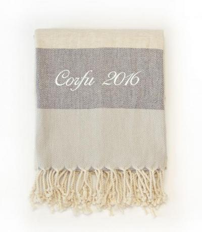 Personalised Pebble Grey Beach Towel, Bamboo Cotton
