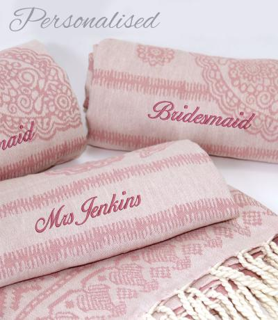 Personalised Pink Wedding Towels / Wraps