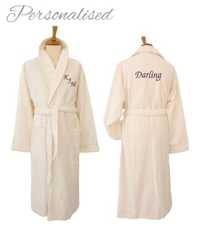 Personalised Velour Bathrobe, Dressing Gown - Champagne