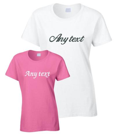 White and pink wedding t-shirts