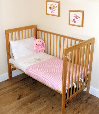 Embroidered Baby Sheets, Bedding, Gingham Pink with Fairy