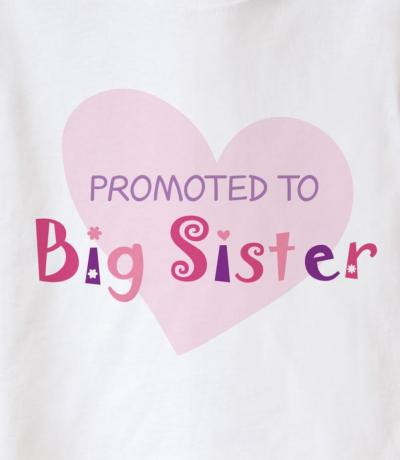 promoted to big sister top with heart