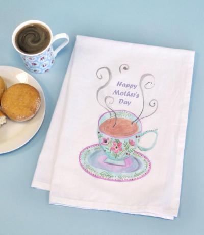 Printed Vintage Tea cup Cotton Tea Towel