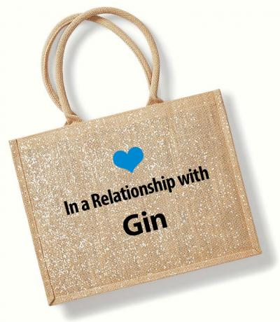 In a Relationship with Gin Printed Sparkle Jute Bag