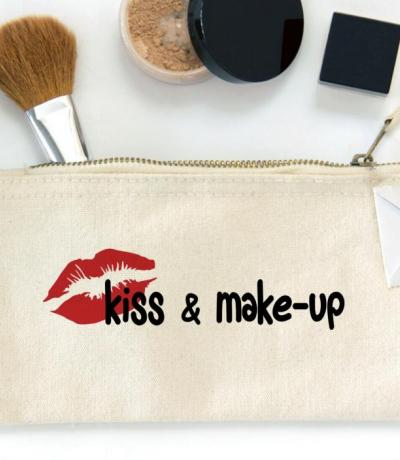 Kiss and Make-up, Zipper Canvas Pouch Bag