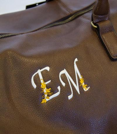 personalised leather holdall bag with initials