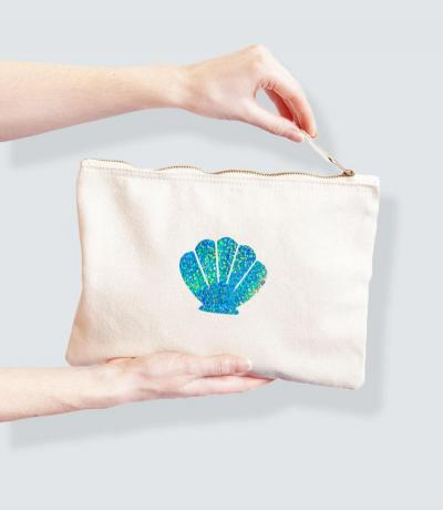 Seashell Mermaid Canvas Bag with Holographic Printed Scallop