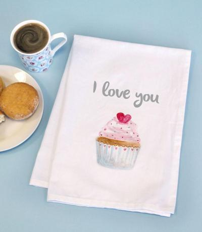Printed Cotton Tea Towel with CUPCAKE