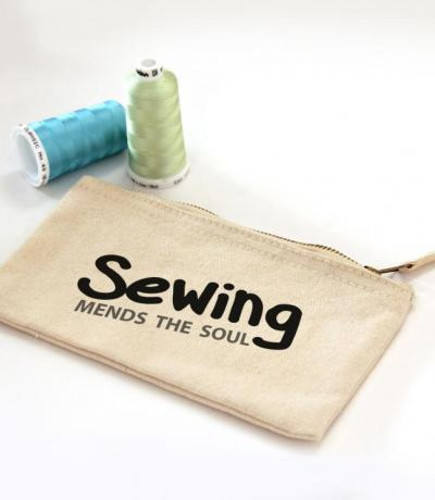 Sewing Mends Your Soul, Zipper Canvas Sewing Pouch