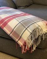 Pink & Grey Check Picnic Blanket