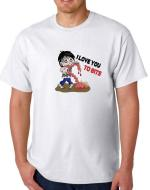 'I love you to bits' funny T-shirt with Zombie