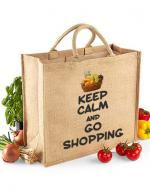 Keep Calm & Go Shopping Printed Jute Bag