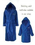 Personalised Kid's Cotton Bathrobe Dark Blue