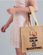 'Keep Calm and Go Shopping' Medium Jute Bag