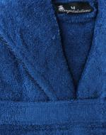 woman's dark blue towelling bathrobe dressing gown