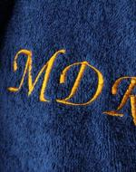 personalised dark blue towelling bathrobe dressing gown