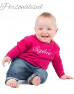 Personalised Embroidered Baby Sweatshirt - Hot Pink