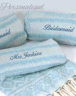 Personalised Blue Wedding Towels / Wraps
