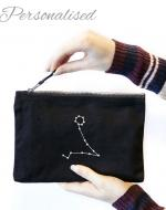 Constellation Embroidered Black Bag with Zodiac Star Signs